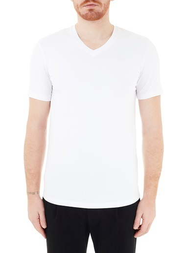 Armani Exchange  Pamuklu V Yaka T Shirt Erkek T Shırt 8Nzt85 Z8M9Z 1100 Beyaz